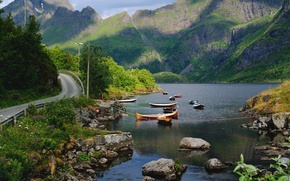 Picture mountains, lake, stones, boats, Norway, Nordland County