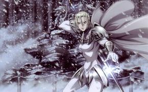 Picture snow, sword, armor, cloak, jean, claymore
