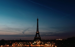 Picture the sky, night, lights, France, Paris, silhouette, lights, Eiffel Tower
