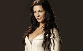 Picture girl, smile, actress, brunette, beauty, white dress, Legend of the Seeker, Confessor, Bridget Regan, Bridget …