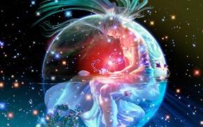 Wallpaper girl, space, night, lights, fire, stars, fantasy, Earth, space, fantasy, Scorpio, constellation, Earth, stars, scorpion, ...