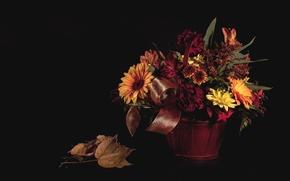 Wallpaper flowers, basket, autumn, bouquet, leaves