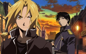 Picture fullmetal alchemist, anime, Edward Elric, Roy Mustang