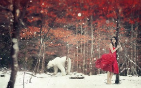 Picture winter, girl, the situation, bear