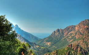 Picture the sky, the sun, mountains, rocks, France, treatment, gorge, Corsica