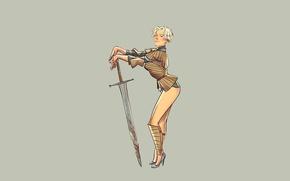 Picture sword, fantasy, vintage, pinup, minimalism, background, Game of Thrones, warrior, tv series, Brienne of Tarth, ...