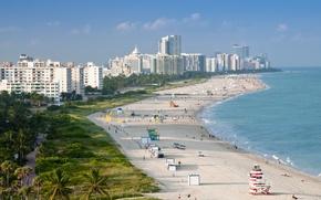 Picture sea, people, Beach, Miami, USA