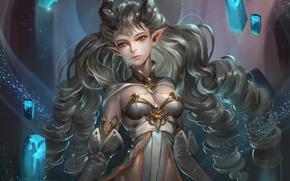 Picture girl, the demon, art, horns, fantasy
