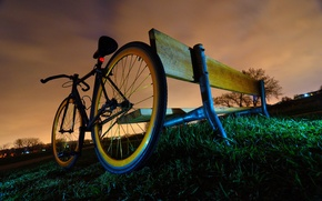 Picture grass, clouds, bench, Bike, twilight