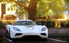 Picture drops, the city, lights, rain, the evening, Koenigsegg, Parking, London, Agera