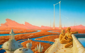 Picture mask, comet, Mars, the gates, Michael Whelan, river, the Martians, martian chronicles, pyramid