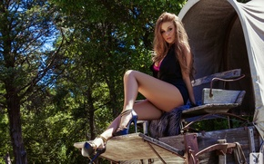 Picture green, sexy, legs, trees, model, shoes, Leanna Decker, dressed