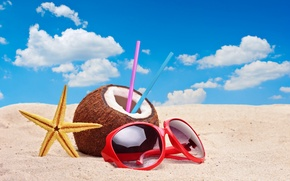 Wallpaper sand, beach, the sky, clouds, coconut, starfish, tube, straws, red sunglasses