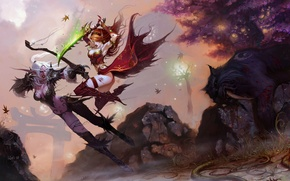 Wallpaper tiger, battle, Panther, bow, dagger, tiger, hunter, Archer, the robber, fight, panther, blood elf, night ...