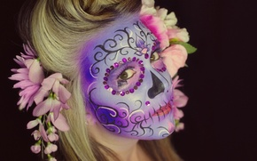 Picture look, girl, flowers, face, hair, paint, day of the dead, day of the dead