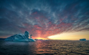 Picture sea, the sun, the ocean, glacier, Greenland