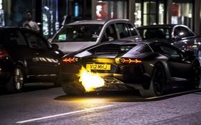 Picture Aventador, fire, Lamborghini, LP 700-4, black