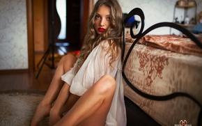 Picture tenderness, pose, look, the bed, shirt, Sergey Minin, legs, sitting, photographer, girl, lips, cute, sexy, ...