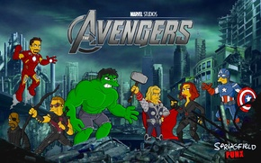 Picture Simpsons, Hulk, Captain America, Thor, The Simpsons, superheroes, The Avengers, Avengers, Ironman, Spingfield