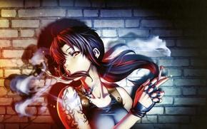 Picture look, girl, smoke, tattoo, cigarette, black lagoon, revy, art, hiroe rei