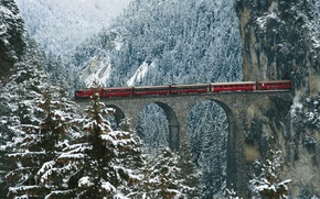 Picture winter, snow, trees, mountains, bridge, train, cars, the tunnel