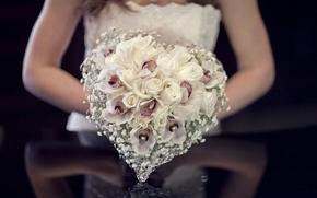 Picture roses, bouquet, the bride, wedding, composition