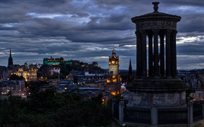 Picture the sky, clouds, the city, the evening, Scotland, lighting, UK, architecture, capital, Edinburgh
