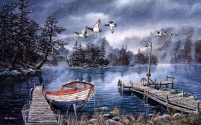Picture Ken Zylla, Lake of the Woods, boat, painting, duck, late autumn, the first snow, lake, …
