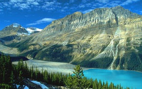 Picture forest, mountains, lake, rocks, Canada, Albert, Banff National Park, Sunny, Banff
