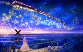 Wallpaper stars, landscape, night, metro, fiction, sign, field, train, boy, art, motorcycle, girl, railroad, observation, moving, ...