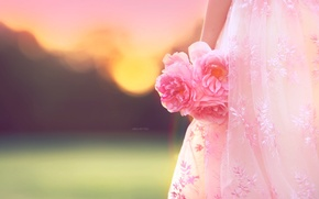 Picture flowers, background, girl