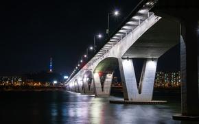 Picture night, bridge, lights, river, home, lights, promenade, Seoul, Seoul, South Korea
