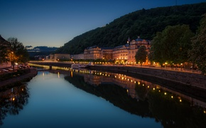 Picture night, lights, river, home, Germany, lights, promenade, Bad Ems