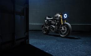 Picture Bike, Custom, Triumph, Bonneville, Racer, Motorcycle, The Bullitt