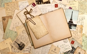 Wallpaper retro, book, photos, clip, vintage, page, vintage, letters, brand