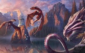 Picture girl, mountains, lake, rocks, shore, dragons, art, fantasy