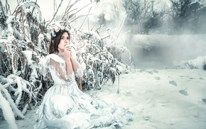 Picture cold, girl, snow, dress, frost, Frozen, Rozalina Yakimenko