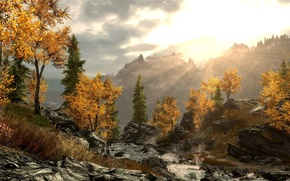 Picture dusk, Skyrim, riverflow