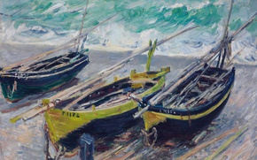 Picture sea, picture, Claude Monet, Three Fishing Boats