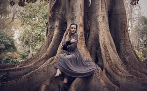 Picture girl, nature, tree, dress, sitting, Kateryna