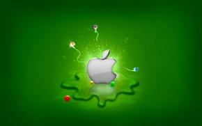 Picture greens, Apple, Splash
