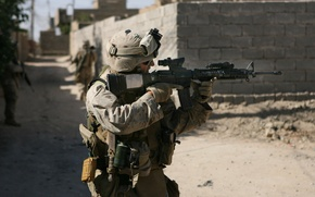Wallpaper weapons, USA, soldiers, colt m4, marine, marines, army, sight