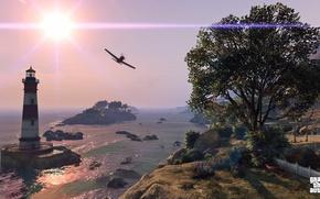 Picture sea, landscape, tree, Grand Theft Auto V, gta 5, grief
