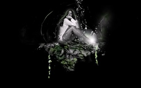 Picture water, rock, Kate, photoshop, Beckinsale, Kate, Beckinsale