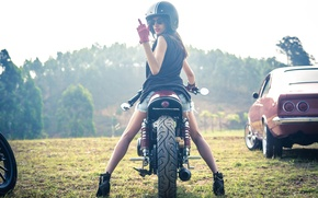Picture girl, vintage, motorcycle, cafe racer