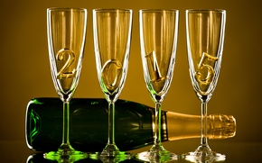 Wallpaper Happy, 2015, bottle, New Year, champagne, New Year, glasses, gold, champagne