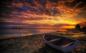 Picture the sky, sunset, river, shore, boat, treatment, glow