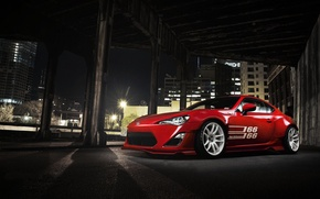 Picture the city, red, Toyota, front, GT 86