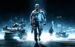 Picture blue, the plane, tank, Battlefield, p