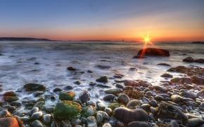 Wallpaper sea, the sun, Shore, stones